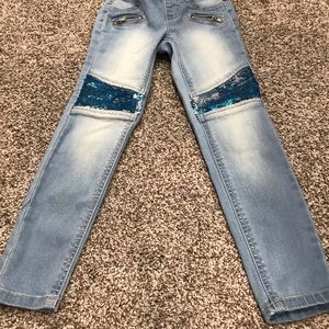 Girls Justice Sequins Blue Jeans
